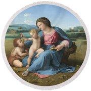 The Alba Madonna Round Beach Towel by Raffaello Sanzio of Urbino