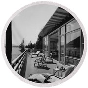 The Alfred Rose Lake Placid Summer Home Round Beach Towel