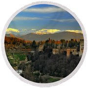 The Alhambra Palace Granada Spain Round Beach Towel