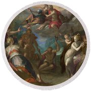 The Amazement Of The Gods Round Beach Towel