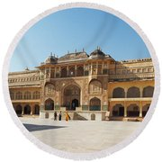 The Amber Fort Round Beach Towel