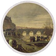 The Ambulance De La Presse At Joinville During The Siege Of Paris Oil On Canvas Round Beach Towel