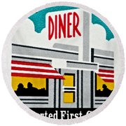 The American Diner  Round Beach Towel