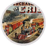 The American Railway Scene  Round Beach Towel by Currier and Ives