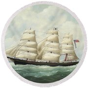 The American Ship Olive S Southard Of San Francisco In French Waters Off Le Havre Round Beach Towel