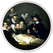 The Anatomy Lesson Round Beach Towel