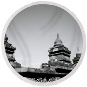 The Ancient Stupas Of Borobudur Round Beach Towel