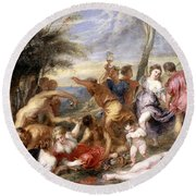 The Andrians A Free Copy After Titian Round Beach Towel