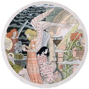 The Angels Kitchen Round Beach Towel by Eugene Grasset