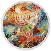 The Angels On Wedding Triptych - Right Side Round Beach Towel