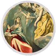 The Annunciation, C.1595-1600 Oil On Canvas Round Beach Towel
