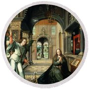 The Annunciation, Early 16th Century Round Beach Towel