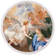 The Annunciation Round Beach Towel by Giovanni Odazzi