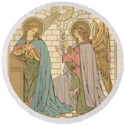 The Annunciation Of The Blessed Virgin Mary Round Beach Towel