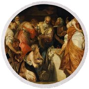 The Anointment Of David Round Beach Towel