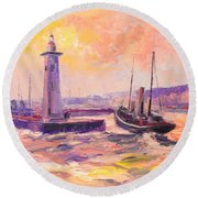 The Anstruther Harbour Round Beach Towel