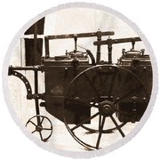 The Antique Farming Machine  Round Beach Towel