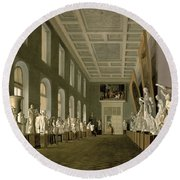 The Antiquities Gallery Of The Academy Of Fine Arts, 1836 Oil On Canvas Round Beach Towel