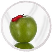 The Apple And The Worm Round Beach Towel