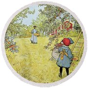 The Apple Harvest Round Beach Towel by Carl Larsson