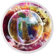 The Apple Of His Eye Round Beach Towel