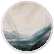 The Approach To Martigny Rhone Valley Valais Round Beach Towel