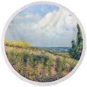 The Approaching Storm Round Beach Towel by Camille Pissarro