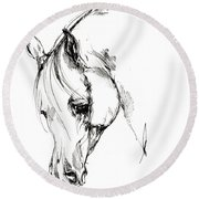 The Arabian Horse Sketch Round Beach Towel