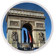 The Arc De Triomphe De Etoile  Round Beach Towel