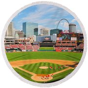 The Arch In The Outfield Round Beach Towel