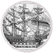 The Ark Raleigh The Flagship Of The English Fleet From Leisure Hour Round Beach Towel