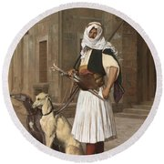The Arnaut With Two Whippets Round Beach Towel