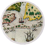 The Arrival Of The English In Virginia Round Beach Towel