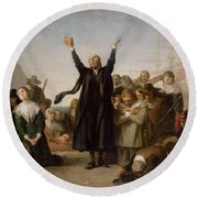 The Arrival Of The Pilgrim Fathers Round Beach Towel