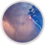 The Arrival Of Zeus Round Beach Towel