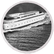The Art Deco Ferry Kalakala Round Beach Towel