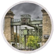 The Art Nouveau Ships Elevator - Portal View Round Beach Towel