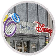 The Art Of Disney Signage Selective Coloring Digital Art Round Beach Towel