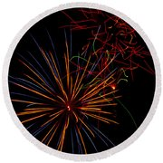 The Art Of Fireworks  Round Beach Towel