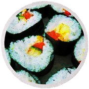 The Art Of Sushi Round Beach Towel