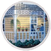 The Artists Cottage Round Beach Towel