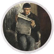 The Artists Father Reading L Evenement Round Beach Towel