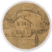 The Artists House In Arles Round Beach Towel by Vincent Van Gogh