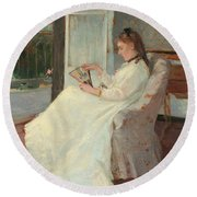 The Artist's Sister At A Window Round Beach Towel