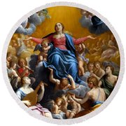 The Assumption Of The Virgin Mary Round Beach Towel by Guido Reni