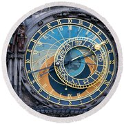 The Astronomical Clock In Prague Round Beach Towel