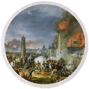 The Attack And Taking Of Ratisbon, 23rd April 1809, 1810 Oil On Canvas Round Beach Towel