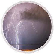 The Attack On Crystal Beach Round Beach Towel