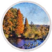 The Bald Cypress Round Beach Towel