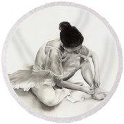 The Ballet Dancer Round Beach Towel by Hailey E Herrera